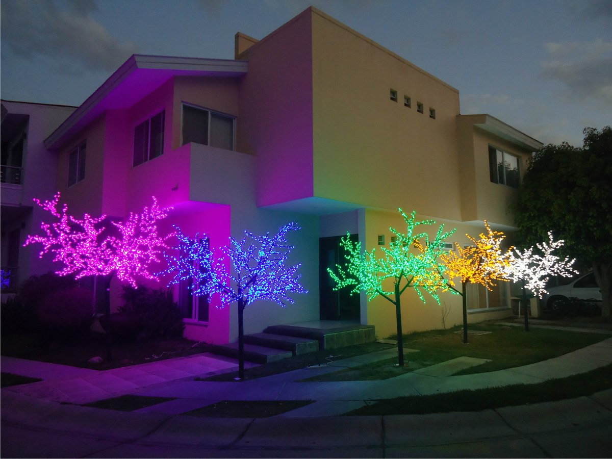 Arbol led forma de arce hoja de cherry 5m medellin colombia for Luces led jardin