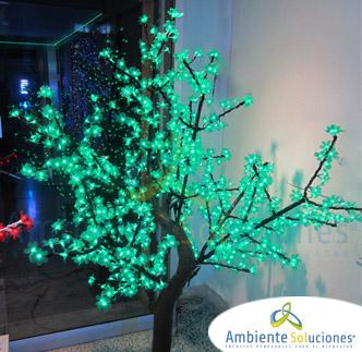 ÁRBOL LED TRONCO NATURAL FORMA ARCE HOJA DE CHERRY 1.8 METROS