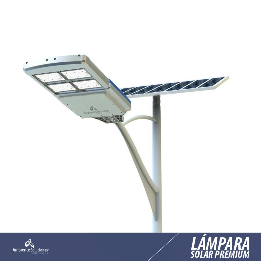 Lampara solar led sin poste l nea premium 35w 9 mts 12 for Lampara solar led