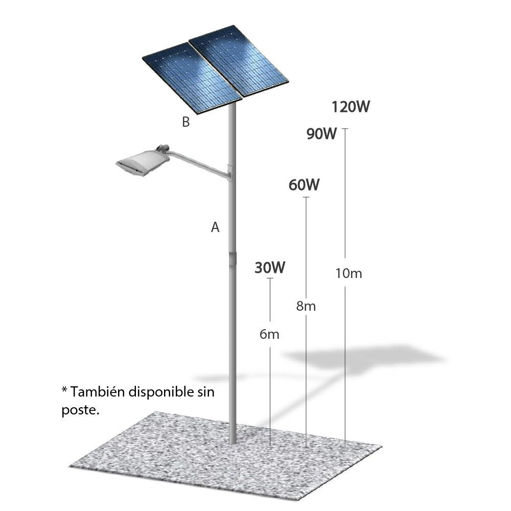 Lampara solar led con poste l nea premium 35w 6 mts 12 for Lampara solar led